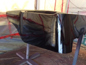 With the body wet sanded we laid down another coat of black paint and then hit the entire body with several coats of clear coat. This incredible rich gloss is what we ended up with!