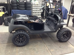 After the body had dried we brought into the shop and installed it on the cart.