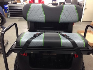 Here are the awesome rear seats installed and the seat belts clipped in place so they don't flop around at high speeds!