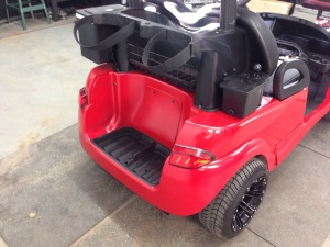 To keep the motor under this speedster a secret we installed the rear access panel.