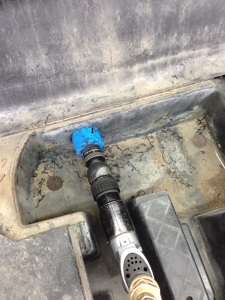 "We then moved onto running the hydraulic lines into the pedal foot well. First we needed to drill a 2"" hole."