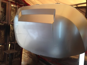 We sprayed down several coats of the HOK Orion and this golf cart hood looks fantastic!