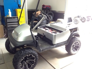 Then we installed the front cowl. This cart is really starting to shape up.