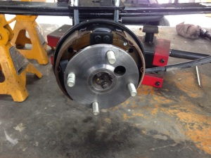 """Here is the brake area all serviced and inspected. You can also see the 6"""" lift block in the rear."""