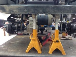 """Here's a picture of the rear with the 6"""" lift blocks and the SC Carts custom leaf springs."""