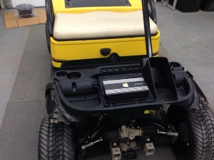With everything removed from this custom golf cart, we were able to start installing the custom stereo system.