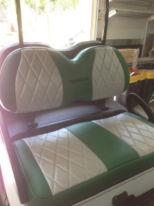 How about this amazing custom upholstery! Notice the sweet Torkster embroidery!