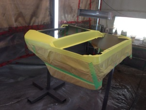 We then brightened up the cart with a bit of custom yellow paint!
