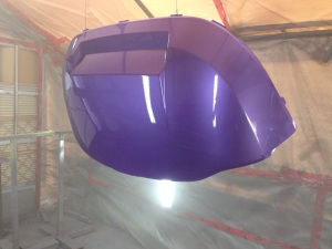 We then laid down the same cool purple and hit with some clear coat!