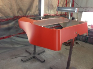 Here is that awesome Harley orange base coat laid down. The body is now ready to be masked.