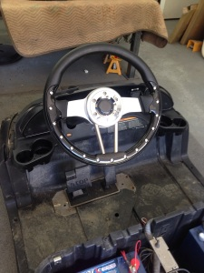 Again keeping with the styling of the cart, we went with this custom steering wheel to bring it all together.