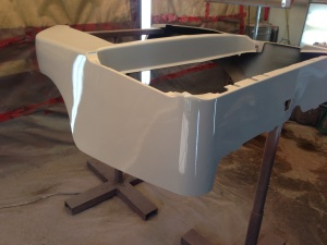 The rear body was put in sealer, ready to get the same matte black finish.