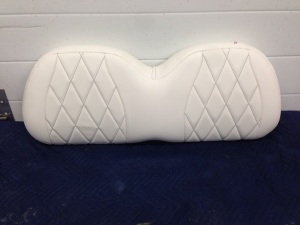 This clean custom Precedent is getting white upholstery with black stitching. No hotdogs in ketchup in this beauty!