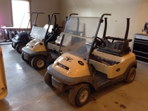 Here the carts are in our tear down bay right off the truck fresh from the golf course.