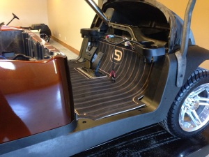 One of our custom SC Carts floor mats installed. It sure finishes off the floor area.