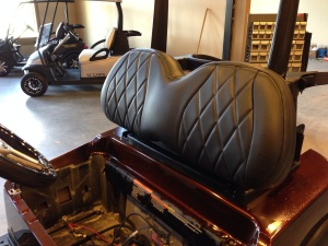 How about some black on black diamond stitched custom SC Carts upholstery.