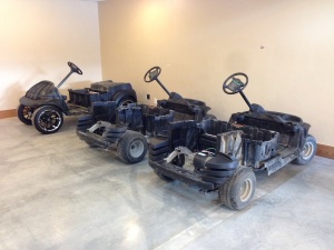 Here the carts are sitting, you have the big wheeled machine, the electric resort beast and of course the Cyber Gray golf machine!
