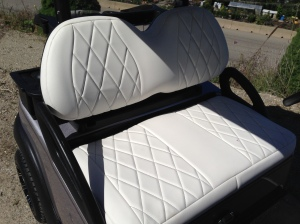 The custom SC Carts Precedent seats look so classy in the diamond white stitching.