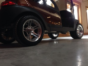 Sitting in the new showroom, waiting for the roof to dry. This cart oozes class right down to the wheels.
