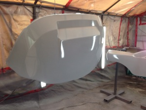 Next we laid down to coats of sealer in preparation for the custom silver paint!