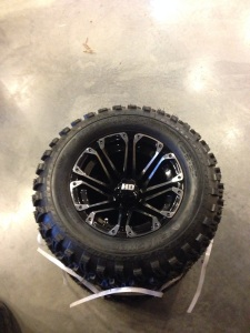 "Here they are, an awesome set of 23"" all terrain tires and the HD3 wheels!"