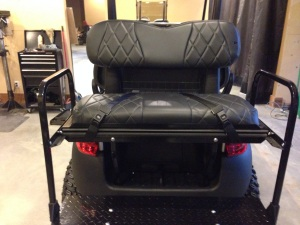 Check out the awesome SC Carts custom upholstery. For safety a set of rear seat belts was also added.