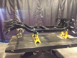The refurbished rear end was lifted into place on the leaf springs.