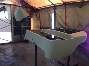 We kick this week off in the booth. Here the factory Club Car body is prepped and ready for sealer!