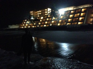 We then decided to take an evening stroll along the beach. This is a picture looking back at the lower portion of the resort!