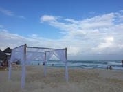 Setting up for a beach wedding