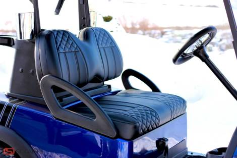 The custom upholstery on this cart is beauty